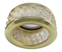 Ecola MR16 DL1655 GU5.3 встр. круглый с хруст.(3 ряда) и ободком - Прозрачный / Золото 63x85 Истра