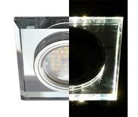 Ecola MR16 LD1651 GU5.3 Glass Стекло с подсветкой Квадрат скошенный край Хром / Хром 25x90x90 (кd74) Истра