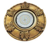 """Ecola накладка широкая гипсовая """"листья"""" для встр. свет-ка GX53 H4 черненое золото 19х195 Истра"""