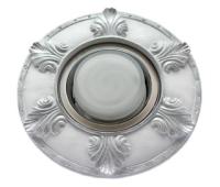 """Ecola накладка широкая гипсовая """"листья"""" для встр. свет-ка GX53 H4 серебро на белом 19х195 Истра"""