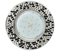 Ecola GX53 H4 5319 Glass Круг с  прозр.-черной мозаикой/фон зерк./центр.часть хром 40x123x123 (к+) Истра