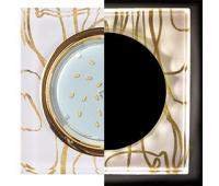 Ecola GX53 H4 LD5311 Glass Стекло Квадрат скошенный край с подсветкой  золото - золото на белом 38x120x120 (к+) Истра