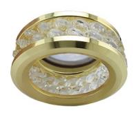 Ecola MR16 DL1656 GU5.3 встр. круглый с хруст.(2 ряда) и ободком - Прозрачный / Золото 54x85 Истра