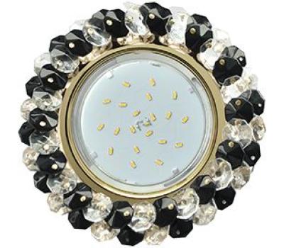 Ecola GX53 H4 Glass Круглый с хрусталиками прозрачный и черный/ золото 56x120 Истра