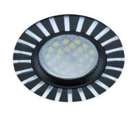 НОВИНКА!Светильник Ecola MR16 DL3183 GU5.3 встр. литой (скрытый крепёж лампы) Полоски по кругу Чёрный/Алюминий 23х78 Истра