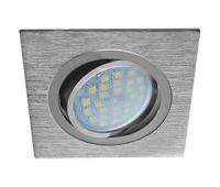 Ecola MR16 DL205 GU5.3 Светильник встр. литой поворотный Квадрат Шлифованный алюминий / Хром 25x92x92 Истра