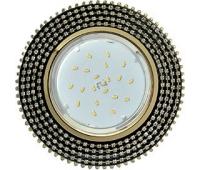 Ecola GX53 H4 Glass Круг с прозр.  страз. (оправа золото)/ фон черн./центр  золото 40x120 Истра