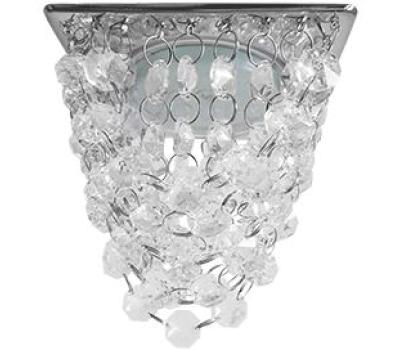 """Ecola GX53 H4 5358 Glass Квадрат """"Хрустальная гроздь"""" Прозрачный / Хром 150x110x110 (к+) Истра"""