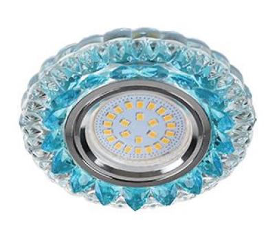 """Ecola MR16 LD7009 GU5.3 Светильник встр. искристый с подсветкой """"Кристалл"""" Прозрачный и Голубой / Хром 30x95 Истра"""