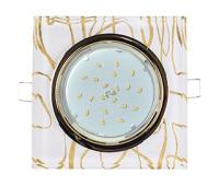 Ecola GX53 H4 Glass Стекло Квадрат скошенный край Золото - золото на белом 38x120x120 (к+) Истра