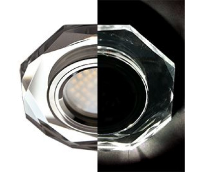 Ecola MR16 LD1652 GU5.3 Glass Стекло с подсветкой 8-угольник с прямыми гранями Хром / Хром 25x90 (кd74) Истра