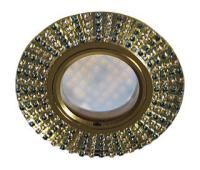 Ecola MR16 DL1662 GU5.3 Glass Стекло Круг с прозр.и бирюз. стразами (оправа золото)/фон зерк./центр.часть золото 25х93 Истра