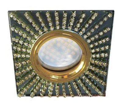 Ecola MR16 DL1659 GU5.3 Glass Стекло Квадрат с прозр.стразами (оправа золото)/фон черный./центр.часть золото 30x95x95 Истра