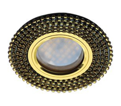 Ecola MR16 DL1662 GU5.3 Glass Стекло Круг с прозр.стразами (оправа золото)/фон черный./центр.часть золото 25x93 Истра