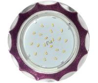 Ecola GX53 H4 DL3902 светильник встраив. без рефл.  Звезда под стеклом Фиолетовый блеск / хром 106х38 (к+) Истра