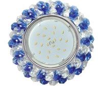 Ecola GX53 H4 Glass Круглый с хрусталиками прозрачный и голубой / Хром 56x120 Истра