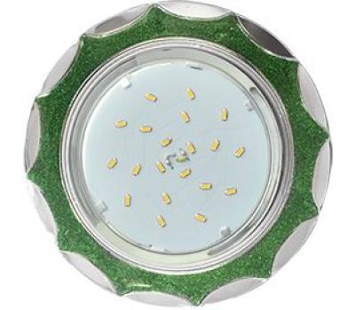 Ecola GX53 H4 DL3902 светильник встраив. без рефл.  Звезда под стеклом Изумрудный блеск / хром 106х38 (к+) Истра