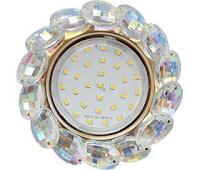 Ecola GX53 H4 Glass Круглый с большими хрусталиками Прозр.искристый/Золото 56x125 Истра