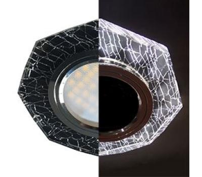 Ecola MR16 LD1652 GU5.3 Glass Стекло с подсветкой 8-угольник с прямыми гранями Колотый лед на черном / Хром 25x90 (кd74) Истра