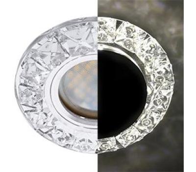 Ecola MR16 LD1661 GU5.3 Glass Стекло Круг с крупными прозр. стразами Конус с подсветкой/фон зерк./цеентр.часть хром 38x95 Истра