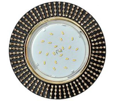 Ecola GX53 H4 5364 Glass Круг с прозр.стразами (оправа золото)/фон черн./центр.часть золото 40x120 (к+) Истра