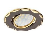 Светильник Ecola MR16 DH07 GU5.3 встр. поворотный Звезда (скр. крепеж лампы) Черный Хром/Золото25x88 Истра