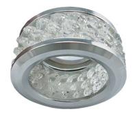 Ecola MR16 DL1655 GU5.3 встр. круглый с хруст.(3 ряда) и ободком - Прозрачный / Хром 63x85 Истра