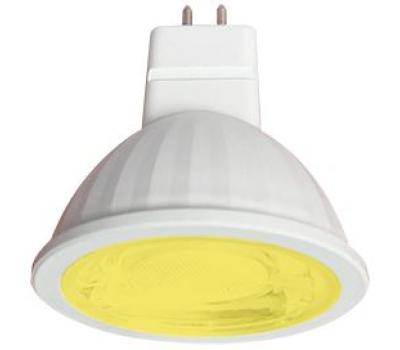 Ecola MR16   LED color  9,0W  220V GU5.3 Yellow Желтый (насыщенный цвет) прозрачное стекло (композит) 47х50 Истра