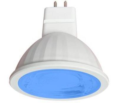 Ecola MR16   LED color  9,0W  220V GU5.3 Blue Синий (насыщенный цвет) прозрачное стекло (композит) 47х50 Истра