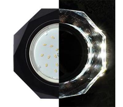 Ecola GX53 H4 LD5312 Glass Стекло 8-угольник с прямыми гранями с подсветкой  черный хром - черный 38x133 (к+) Истра