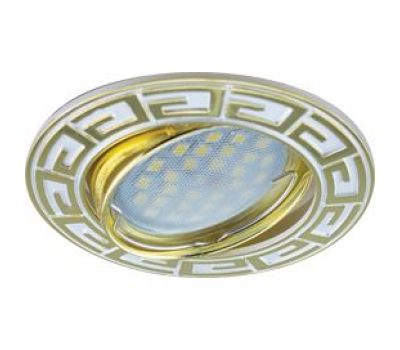НОВИНКА!Светильник Ecola MR16 DL110 GU5.3 встр. литой поворотный Антик Хром/Сатин-Золото 24х86 Истра