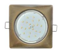 Ecola GX53 H4  Square светильник квадратный без рефл. Черненая бронза 107x41 Истра