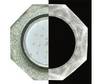 Ecola GX53 H4 LD5312 Glass Стекло 8-угольник с прямыми гранями с подсветкой  хром - серебряный блеск 38x133 (к+) Истра