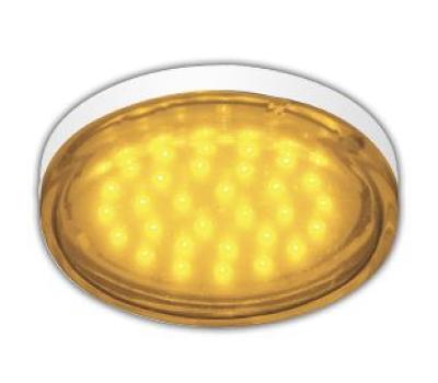 Ecola GX53   LED color  4,4W Tablet 220V Yellow Желтый прозрачное стекло 27x74 Истра