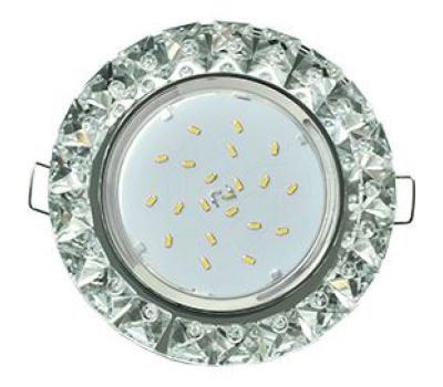 Ecola GX53 H4 Glass Круг с крупными стразами Конус/фон зерк./центр.часть хром 52x120 Истра