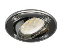 Ecola MR16 DL21 GU5.3 Светильник встр. литой поворотный искр.гравир. Четыре цветка Черный Хром/Хром Истра