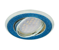 НОВИНКА!Светильник Ecola MR16 DL39 GU5.3 встр. литой поворотный Круг под стеклом Голубой блеск/Хром 23х88 Истра