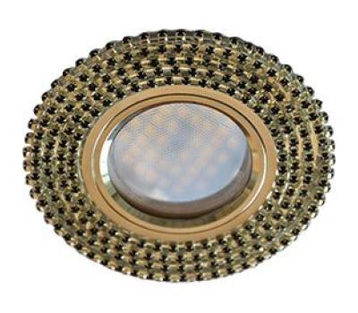 Ecola MR16 DL1662 GU5.3 Glass Стекло Круг с черными стразами (оправа хром)/фон зерк./центр.часть хром 25x93 Истра
