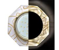 Ecola GX53 H4 LD5312 Glass Стекло 8-угольник с прямыми гранями с подсветкой  золото - золото на белом 38x133 (к+)