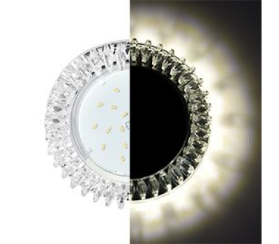 Ecola GX53 H4 LD5361 Glass Круг с прозр. стразами Гребенка с подсветкой/фон зерк./центр.часть хром 52x120 (к+) Истра