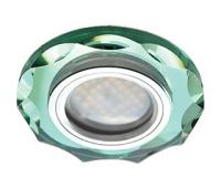 Ecola MR16 DL1653 GU5.3 Glass Стекло Круг с вогнутыми гранями Изумруд / Хром 25x90 Истра