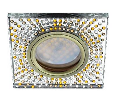 Ecola MR16 DL1658 GU5.3 Glass Стекло Квадрат с  прозр.-янтарной мозаикой/фон зерк../центр.часть черненая бронза 25x95x95 Истра