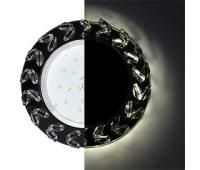 Ecola GX53 H4 LD5361 Glass Круг с крупными  прозр. стразами Елочка с подсветкой/фон черн./центр.часть хром 54x120 (к+) Истра
