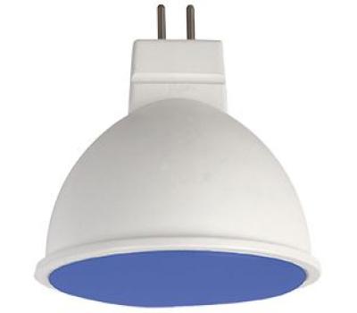 Ecola MR16   LED color  7,0W  220V GU5.3 Blue Синий матовое стекло (композит) 47х50 Истра