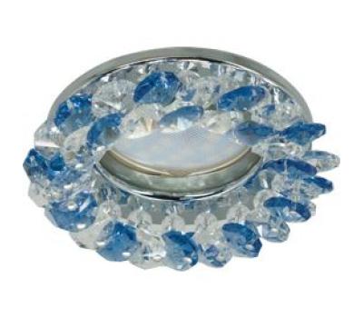 Светильник Ecola MR16 CD4141 GU5.3 встр. круглый с хрусталиками Прозрачный и Голубой/Хром 50x90 Истра