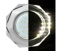 Ecola GX53 H4 LD5312 Glass Стекло 8-угольник с прямыми гранями с подсветкой  хром - хром (зеркальный) 38x133 (к+) Истра