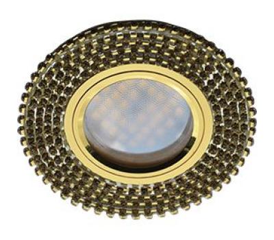 Ecola MR16 DL1662 GU5.3 Glass Стекло Круг с прозр.стразами (оправа золото)/фон зерк./центр.часть золото 25x93 Истра