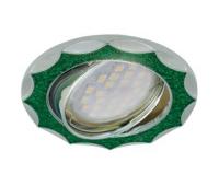 НОВИНКА!Светильник Ecola MR16 DL36 GU5.3 встр. литой поворотный Звезда под стеклом Изумрудный блеск/Хром 22х84 Истра