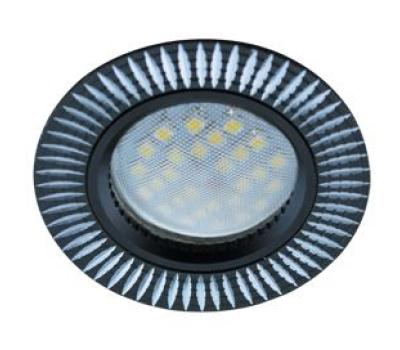 НОВИНКА!Светильник Ecola MR16 DL3182 GU5.3 встр. литой (скрытый крепёж лампы) Рифлёные реснички по кругу Чёрный/Алюминий 23х78 Истра