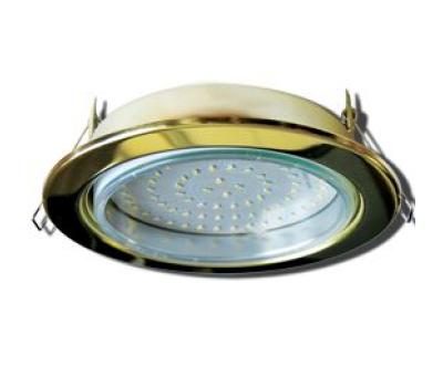 Встраиваемый потолочный точечный светильник-спот Экола GX70 H5 без рефлектора. Золото. Истра